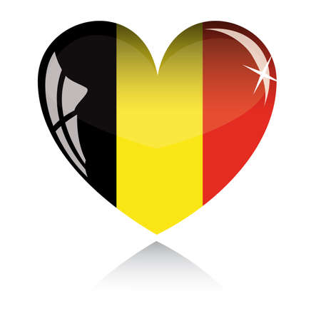 Vector heart with Belgium flag texture isolated on a white background.