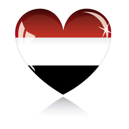 egypt flag: Coraz�n de vector con textura de bandera de Egipto aislado en un fondo blanco.  Vectores
