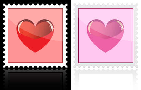 Postage with heart icon on white and black Vector