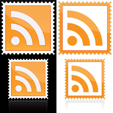 rss: Postage with RSS icon on white and black