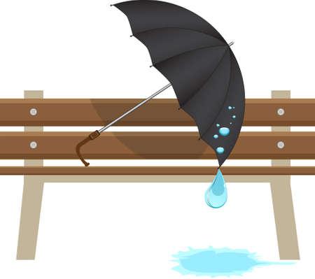 Black umbrella and a bench.