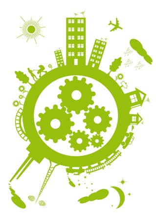 harmony idea: The contours of the green planet on a white background. Within the mechanism of the planet gears.