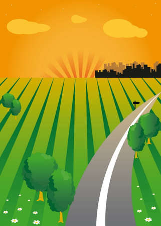 horizon over land: sunset and the green valley. Road. The contours of the city on the horizon.