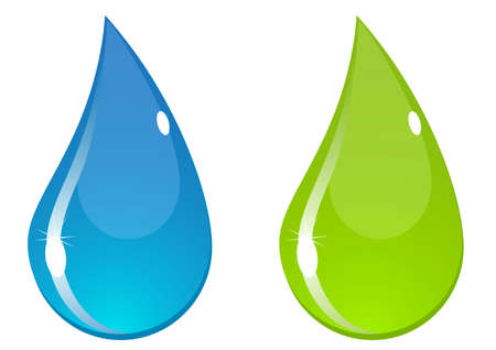 Two water drops with flashes. Blue and green.
