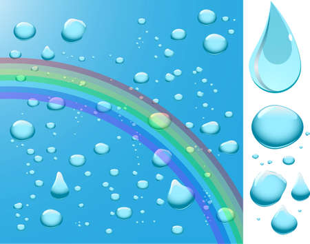 Water drops with rainbow. Stock Vector - 6485428