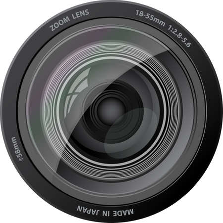 Camera lens. With rainbow effect. Illustration