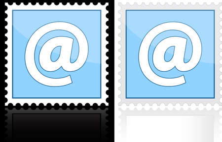 Icon e-mail blue on a white background, illustration. Vector