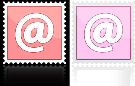 Icon e-mail pink on a white background Vector