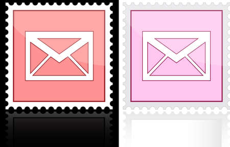 Icon e-mail pink on a white background, illustration. Vector