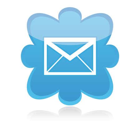 Icon e-mail blue on a white background,illustration. Illustration