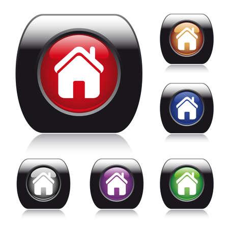 icono inicio: bot�n brillante para el dise�o de la web con el icono de inicio. F�cil editable. Seis colores: azul, rojo, naranja, verde, violeta, gris