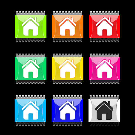 Set of rectangular buttons with home icon Stock Vector - 6658705