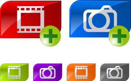 Glossy photo video buttons. With plus icon.