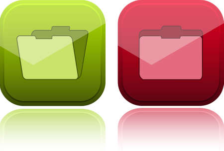 sender: Glossy buttons with folder icon.  illustration.