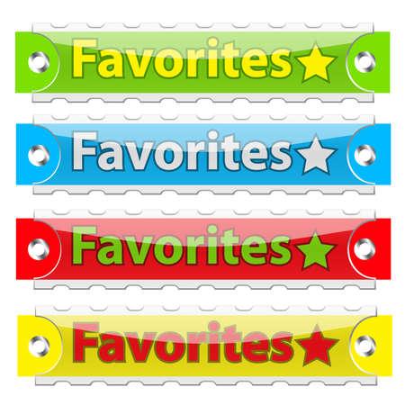 favoritos: Botones de etiquetas de Favoritos brillante.  Vectores