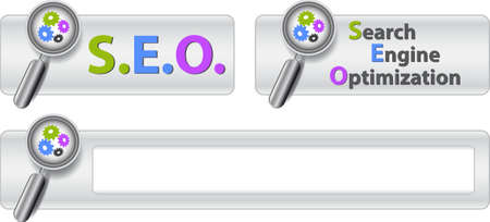 Web buttons with text search engine optimization and magnifier.  Stock Vector - 6658700