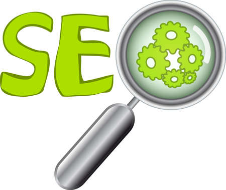 Web buttons with SEO text and magnifier