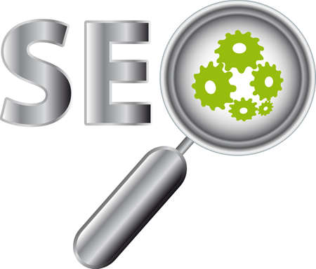 Web buttons with SEO text and magnifier.  illustration.
