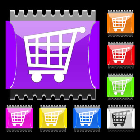 Set of rectangular buttons with basket icon. EPS10 Vector