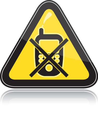 negation: Yellow triangular other warning sign on white background