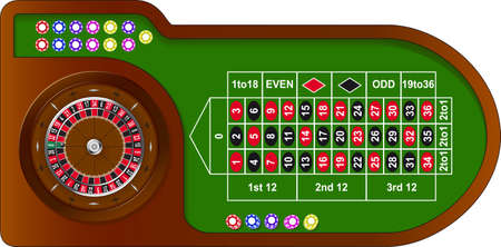 wagers: Mesa de juego de ruleta con coloridos fichas de casino en l�nea Vectores