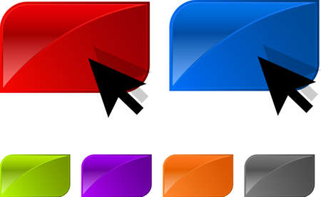 glossy button for web design with arrow. Easy editable. Six colors: blue, red, yellow, green, purple, gray