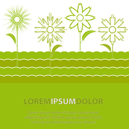 The contours of the green abstract Flowers. illustration Vector