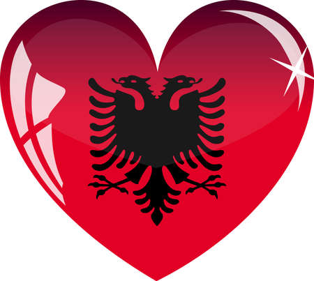 albania: heart with Albania flag texture isolated on a white background.