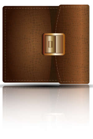 clasp: Leather purse with metal clasp.  Illustration. Eps10