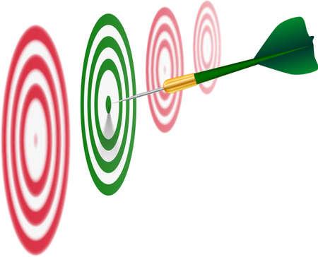 Green dart on white background.