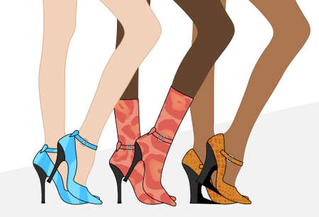 womens: Women`s beautiful legs in shoes and boots