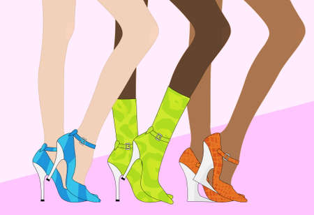 Women`s beautiful legs in shoes and boots Stock Vector - 7096652