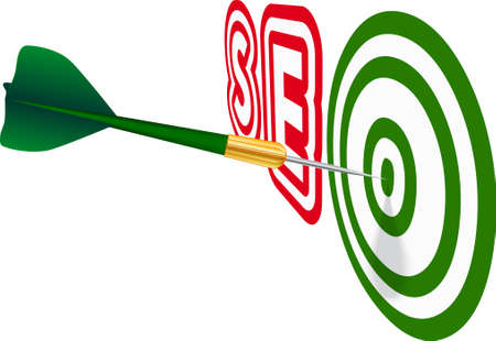 Green dart with SEO text on white background. Concept of success.