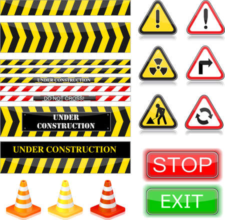 Under construction signs. Vector Illustration. EPS10 Stock Vector - 7110134