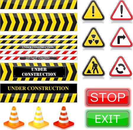 Under construction signs. Vector Illustration. EPS10 Vector