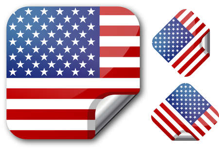 Sticker with Usa flag. Illustration. EPS10