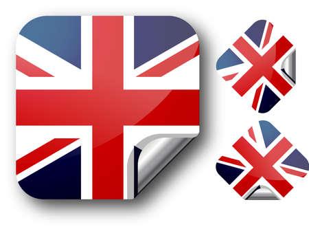 Sticker with UK flag.  Illustration. EPS10 Illustration