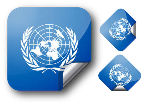 Sticker with United Nations flag. EPS10 Vector
