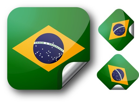 Sticker with Brazil flag Illustration