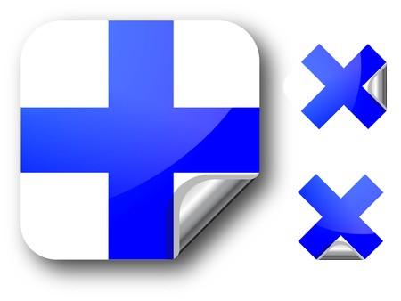 Sticker with Finland flag Illustration