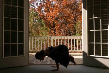 Young woman doing yoga photo