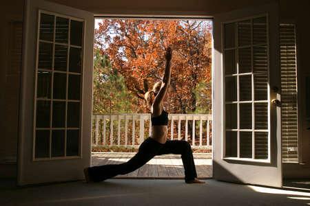pilates: Woman doing yoga
