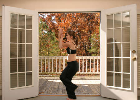 Woman doing yoga photo