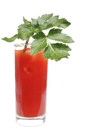 highball: Bloody Mary cocktail in highball glass with celery garnish