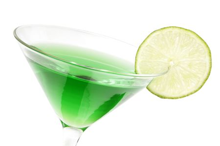 garnish: Lime green martini with lime garnish