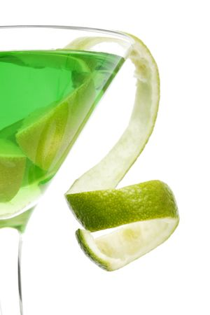 tipple: Lime green martini with lime twist garnish