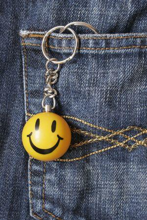 keyring: Happy Smiley Keyring Stock Photo