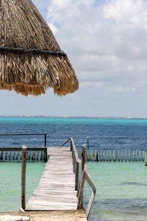 Boat dock on Mexicos Caribbean coast