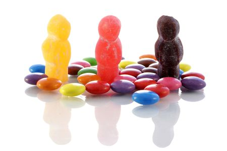 bean family: Jellybabies and candy with reflections