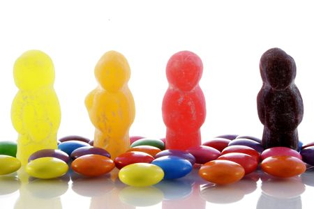 bean family: Jelly babies and candy with reflections
